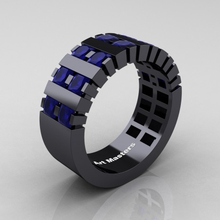 Mens-Modern-14K-Black-Gold-Blue-Sapphire-Princess-Cluster-Tank-Wedding-Ring-R397-14KBGBS-P