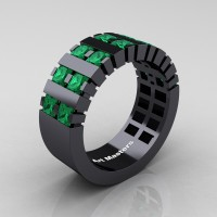 Mens Modern 14K Black Gold Princess Emerald Cluster Tank Ring R397-14KBGEM