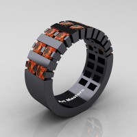 Mens Modern 14K Black Gold Princess Orange Sapphire Cluster Tank Ring R397-14KBGOS