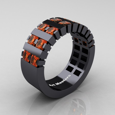Mens-Modern-14K-Black-Gold-Orange-Sapphire-Princess-Cluster-Tank-Wedding-Band-R397-14KBGOS-P