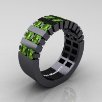 Mens Modern 14K Black Gold Princess Peridot Cluster Tank Ring R397-14KBGP