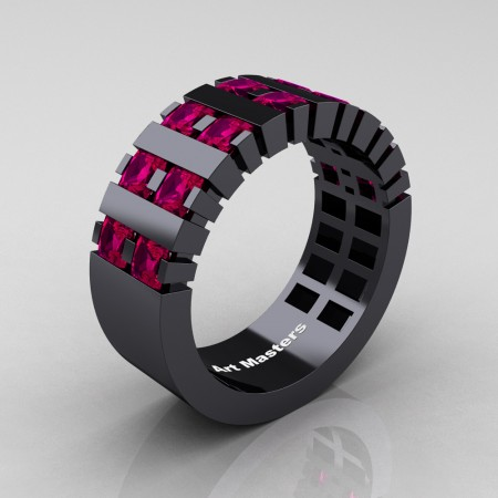 Mens-Modern-14K-Black-Gold-Ruby-Princess-Cluster-Tank-Wedding-Band-R397-14KBGR-P