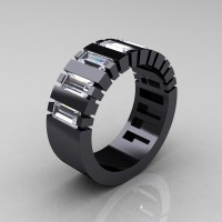 Mens Modern 14K Black Gold Baguette White Sapphire Tank Wedding Ring R395-14KBGWS