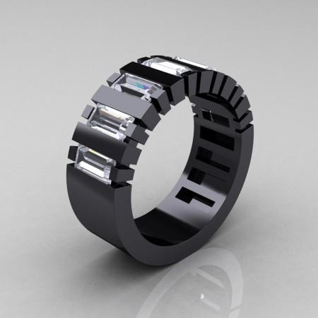 Mens-Modern-14K-Black-Gold-White-Sapphire-Baguette-Cluster-Tank-Wedding-Band-R395-14KBGWS-P