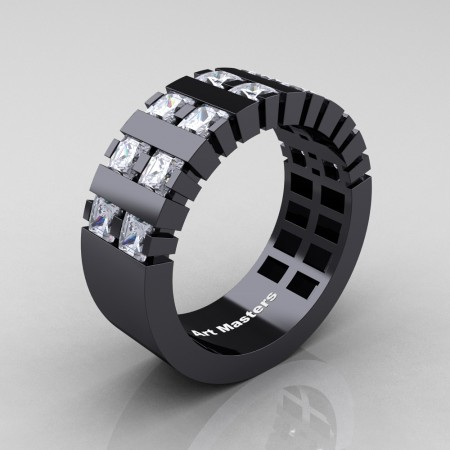 Mens-Modern-14K-Black-Gold-White-Sapphire-Princess-Cluster-Tank-Wedding-Ring-R397-14KBGWS-P2