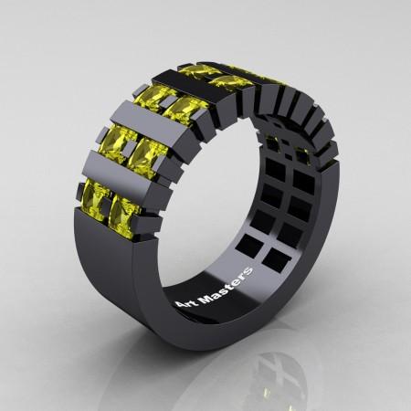 Mens-Modern-14K-Black-Gold-Yellow-Sapphire-Princess-Cluster-Tank-Wedding-Ring-R397-14KBGYS-P