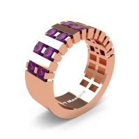 Mens Modern 14K Rose Gold Princess Amethyst Cluster Tank Wedding Ring R397-14KRGAM