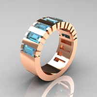 Mens Modern 14K Rose Gold Baguette Aquamarine Cluster Tank Wedding Ring R395-14KRGAQ