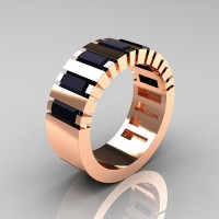 Mens Modern 14K Rose Gold Baguette Black Diamond Cluster Tank Wedding Ring R395-14KRGBD