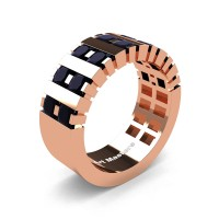 Mens Modern 14K Rose Gold Princess Black Diamond Cluster Tank Wedding Ring R397-14KRGBD