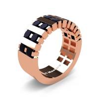 Mens Modern 14K Rose Gold Princess Black Diamond Cluster Tank Wedding Ring R397-14KRGBD