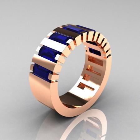 Mens-Modern-14K-Rose-Gold-Blue-Sapphire-Baguette-Cluster-Tank-Wedding-Band-R395-14KRGBS-P