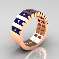 Mens Modern 14K Rose Gold Princess Blue Sapphire Cluster Tank Wedding Ring R397-14KRGBS