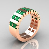Mens Modern 14K Rose Gold Princess Emerald Cluster Tank Wedding Ring R397-14KRGEM