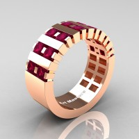 Mens Modern 14K Rose Gold Princess Garnet Cluster Tank Wedding Ring R397-14KRGG