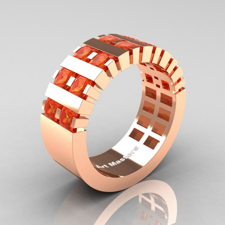 Mens-Modern-14K-Rose-Gold-Orange-Sapphire-Princess-Cluster-Tank-Wedding-Ring-R397-14KRGOS-P
