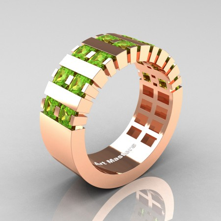 Mens-Modern-14K-Rose-Gold-Peridot-Princess-Cluster-Tank-Wedding-Ring-R397-14KRGP-P