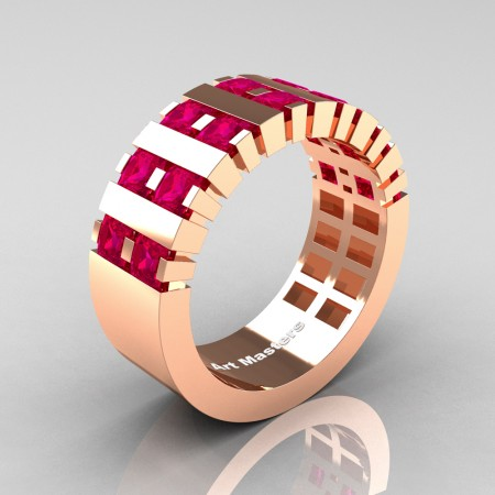 Mens-Modern-14K-Rose-Gold-Ruby-Princess-Cluster-Tank-Wedding-Ring-R397-14KRGR-P