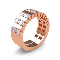 Mens Modern 14K Rose Gold Princess White Sapphire Cluster Tank Wedding Ring R397-14KRGWS