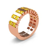 Mens Modern 14K Rose Gold Princess Yellow Sapphire Cluster Tank Wedding Ring R397-14KRGYS