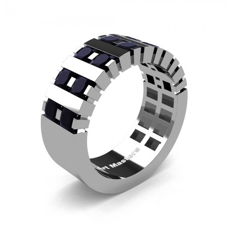Mens-Modern-14K-White-Gold-Black-Diamond-Princess-Cluster-Tank-Wedding-Band-R397-14KWGBD-P