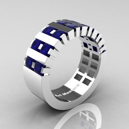 Mens-Modern-14K-White-Gold-Blue-Sapphire-Princess-Cluster-Tank-Wedding-Ring-R397-14KWGBS-P2