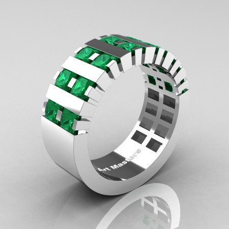 Mens-Modern-14K-White-Gold-Emerald-Princess-Cluster-Tank-Wedding-Ring-R397-14KWGEM-P