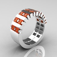 Mens Modern 14K White Gold Princess Orange Sapphire Cluster Tank Wedding Ring R397-14KWGOS
