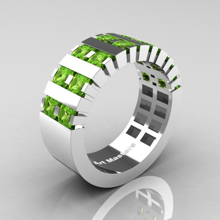 Mens-Modern-14K-White-Gold-Peridot-Princess-Cluster-Tank-Wedding-Ring-R397-14KWGP-P
