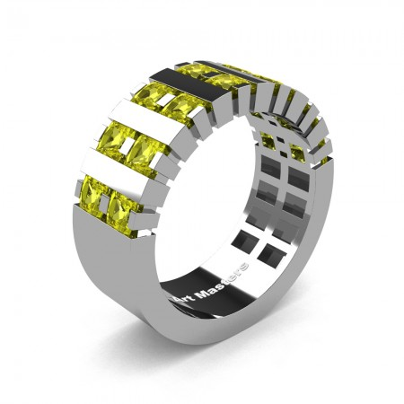 Mens-Modern-14K-White-Gold-Yellow-Sapphire-Princess-Cluster-Tank-Wedding-Band-R397-14KWGYS-P