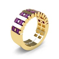 Mens Modern 14K Yellow Gold Princess Amethyst Cluster Tank Wedding Ring R397-14KYGAM