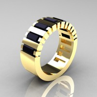 Mens Modern 14K Yellow Gold Baguette Black Diamond Cluster Tank Ring R395-14KYGBD