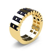 Mens Modern 14K Yellow Gold Princess Black Diamond Cluster Tank Wedding Ring R397-14KYGBD