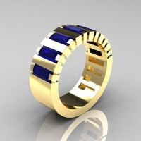 Mens Modern 14K Yellow Gold Baguette Blue Sapphire Cluster Tank Ring R395-14KYGBS