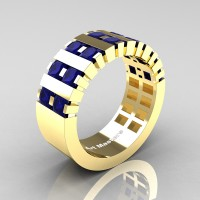 Mens Modern 14K Yellow Gold Princess Blue Sapphire Cluster Tank Wedding Ring R397-14KYGBS