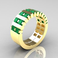 Mens Modern 14K Yellow Gold Princess Emerald Cluster Tank Wedding Ring R397-14KYGEM