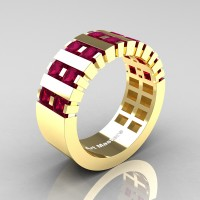 Mens Modern 14K Yellow Gold Princess Garnet Cluster Tank Wedding Ring R397-14KYGG