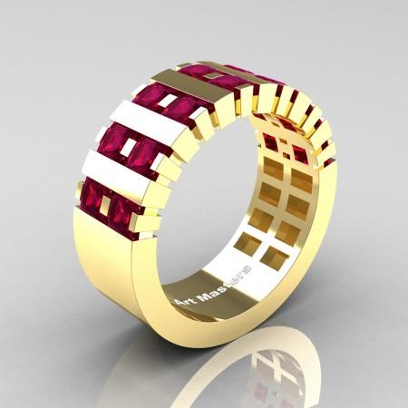 Mens-Modern-14K-Yellow-Gold-Garnet-Princess-Cluster-Tank-Wedding-Band-R397-14KYGG-P