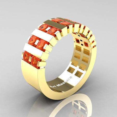 Mens-Modern-14K-Yellow-Gold-Orange-Sapphire-Princess-Cluster-Tank-Wedding-Ring-R397-14KYGOS-P