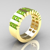 Mens Modern 14K Yellow Gold Princess Peridot Cluster Tank Wedding Ring R397-14KYGP