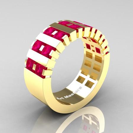 Mens-Modern-14K-Yellow-Gold-Ruby-Princess-Cluster-Tank-Wedding-Band-R397-14KYGR-P