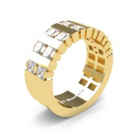 Mens Modern 14K Yellow Gold Princess White Sapphire Cluster Tank Wedding Ring R397-14KYGWS