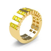 Mens Modern 14K Yellow Gold Princess Yellow Sapphire Cluster Tank Wedding Ring R397-14KYGYS
