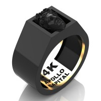 Apollo Mens 24K Black Gold Ring R2400-24KBG