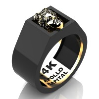 Apollo Mens 24K Black Gold Ring R2400-24KBYG