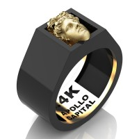 Apollo Mens 24K Black Gold Ring R2400-24KBGS