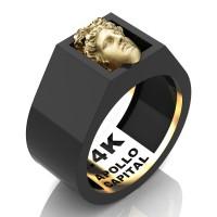 Apollo Mens 24K Black Gold Ring R2400-24KBGS