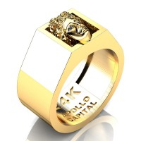 Apollo Mens 24K Yellow Gold Ring R2400-24KYG