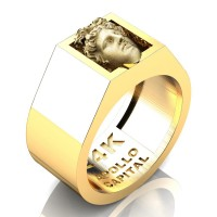 Apollo Mens 24K Yellow Gold Ring R2400-24KYGGS