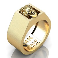 Apollo Mens 24K Yellow Gold Ring R2400-24KYGSG